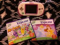 pink leapster explorer/3 games
