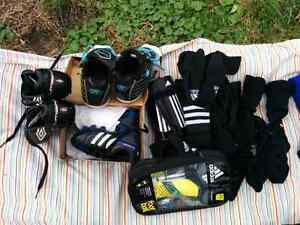 Tons of soccer gear. Fits 4 to 5 yrs.