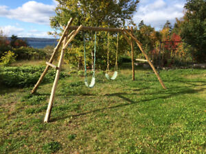 Timber Frame Swing Set with Rope Swings