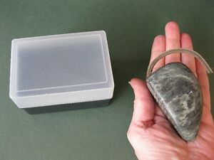 LARGE POLISHED SOAPSTONE MOUSE WITH LEATHER TAIL