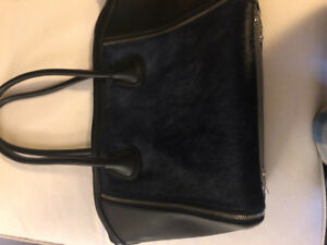 Ladies size 8 faux suede navy blue boots and matching bag