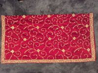Red embroidered sari, dupatta and blouse