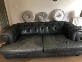 3/4 seater grey/slate leather sofa AND armchair