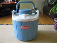 VINTAGE COLEMAN BABY BLUE CAMPING WATER COOLER THERMOS PICNIC 1G