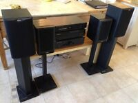 Amplifier, CD, DAB radio, 2 sets of speakers and stands