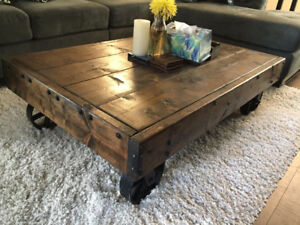 Homemade Rustic Coffee Cart Table