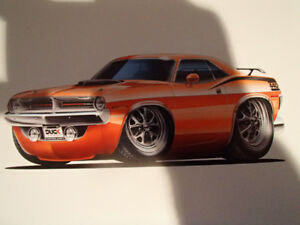 "1970 PLYMOUTH CUDA 440 ORANGE WALL ART PICTURE 11"" X 8.5"""