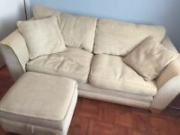 DFS 3 seater sofa, storage footstool & scatter cushions (neutral/natural colour)