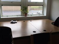 Office desks, desk chair, office cupboard and furniture