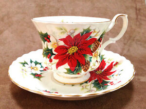 "Royal Albert ""Poinsettia"" Teacup & Saucer"