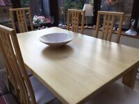 SOLID BEECH DINING TABLE AND 6 CHAIRS