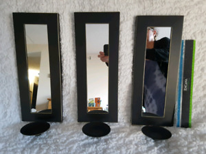 3 wall mirrors and candle holders
