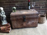 GENUINE VICTORIAN ANTIQUE TRUNK CHEST FREE DELIVERY COFFEE TABLE