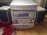 Sharp music cd radio tape player with two speakers