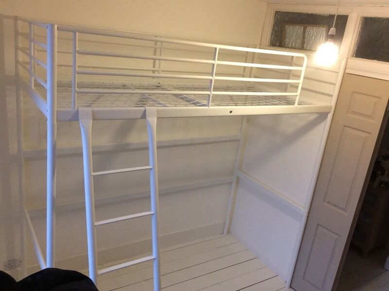 ikea svarta white metal single loft bed in twickenham london gumtree. Black Bedroom Furniture Sets. Home Design Ideas