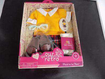 "New Our Generation RETRO 'Plaid to be Here"" Complete Outfit (fits 18"" dolls)"