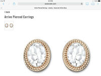Swarovski Rose Gold Arrive Pierced Earrings--Brand New!