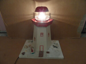 """HOME MADE NOVA SCOTIA LIGHT HOUSE WHICH LIGHTS UP - BASE IS 13""""L"""