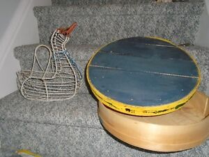 OLD EGG BASKET AND WOODEN CHEESE BOX