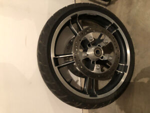 """2014 street glide factory 19"""" front rim and tire"""