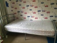 Silver metal single bed frame