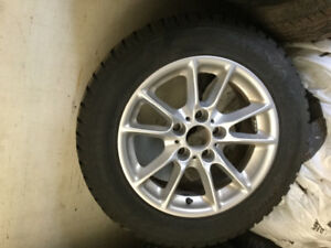 "16"" BMW alloy wheels 225/55/16 Hankook I PIKE winter studded new"