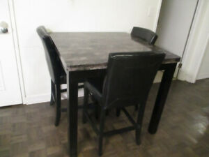 Leons Dining Table Set With High Faux Leather Chairs