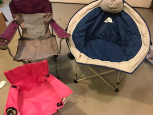 Three Ozark Trails folding chairs, as new, for all the family.