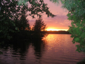 Great View of Sunset on Cutler Lake from Spacious Deck