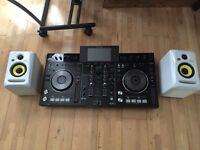 Pioneer xdj-rx with krk rokit 4 speakers and decksaver