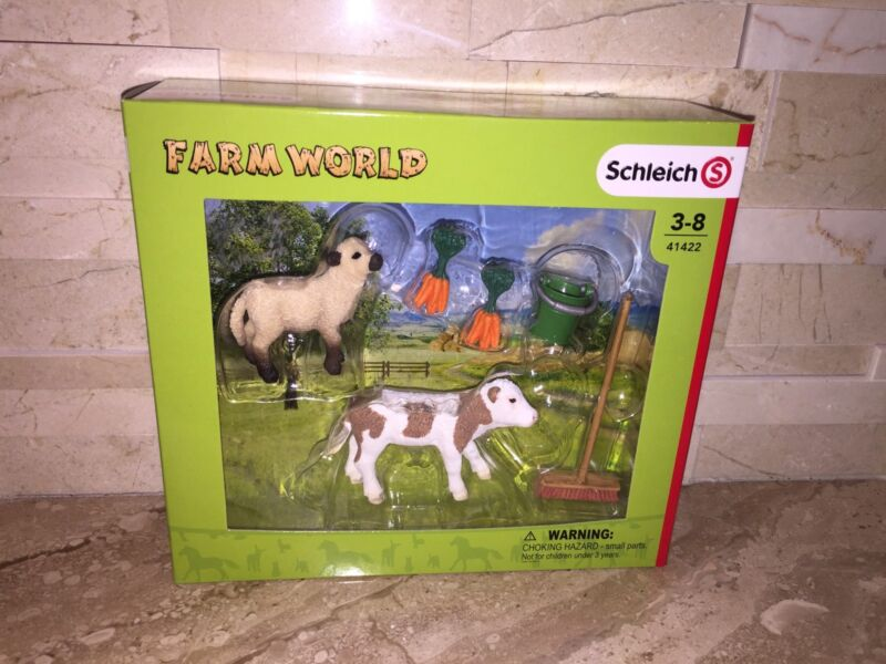 SCHLEICH FARM WORLD STABLE CLEANING SET WITH CALF & LAMB 41422