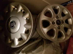 A set of Used aluminum rims + two covers