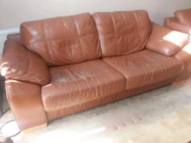 Used brown leather sofa set