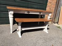 Beautiful farmhouse kitchen shabby chic style dining / trestle table and bench