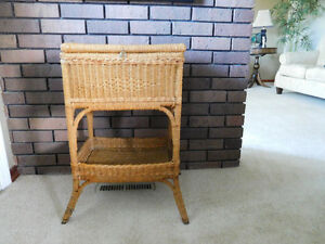 antique wicker sewing stand