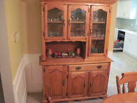 Solid Maple Hutch with display cabinet