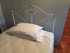 Vintage Painted Iron 3/4 Bed with Mattress