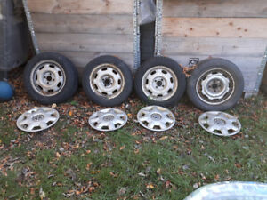 """14"""" 4 x 100 winter tires and rims"""