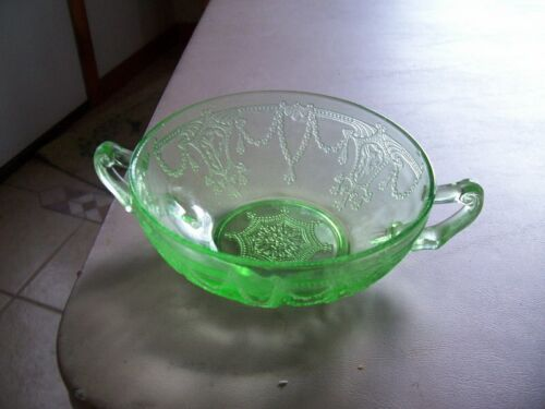 """Cameo Ballerina 4 3/4"""" green cream soup bowl"""