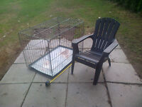 Extra Large Dog Crate with removable metal tray.