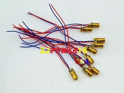 10pcs 650nm 6mm 5v 5mw Red Laser Dot Diode Module Copper Head
