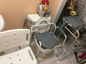 Shower Chair, Commode/Raised Toilet & Walker in Great Condition
