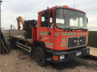 1990 MAN/ ERF FLAT BED TRUCK ATLAS CRANE 6956cc IDEAL EXPORT