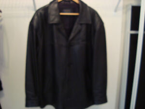 Manteau de cuir/ Black leather jacket West Island Greater Montréal image 1
