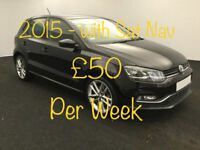 £214.51 PER MONTH - 2015 VOLKSWAGEN POLO 1.2 TSI BMT SEL PETROL MANUAL WITH NAV