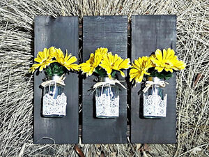 Reclaimed Wood Wall Hanging Flower Vase or Storage Containers
