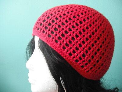 100% Cotton Irie Heights Red Beanie Hat Ski, Surf, Skater Rasta Tam Oine Size