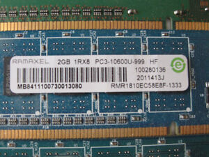2GB PC3-10600 / DDR3-1333 240pin Dimm Desktop Ram / Memory