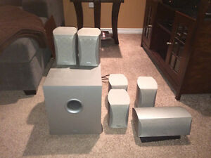 Set of 6 Denon Surround Sound Speakers and Subwoofer London Ontario image 1
