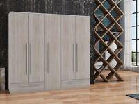 Wardrobe WALIA Oak Sonoma / Aluminium
